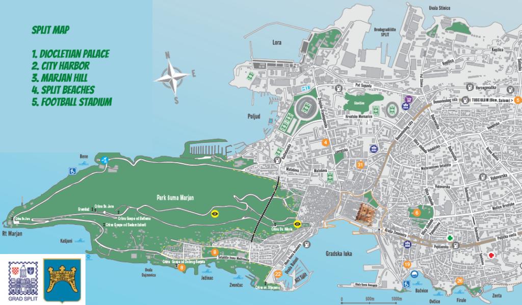 Split Croatia map - Split Croatia Travel Guide